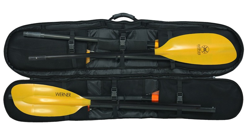 3 2-piece paddles inside kayak paddle bag