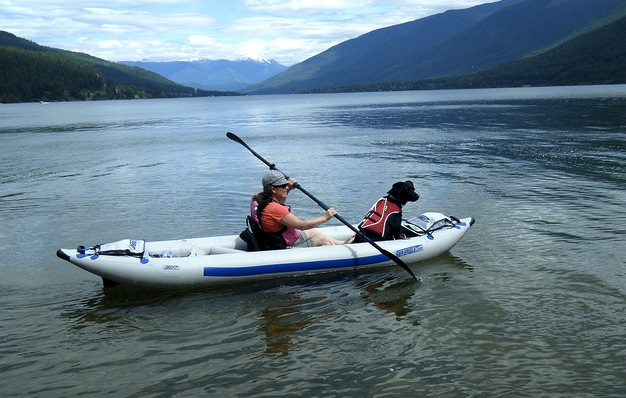 paddling the FastTrack with a large dog
