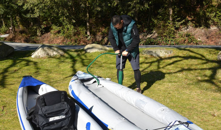 inflating the 365 FastTrack kayak