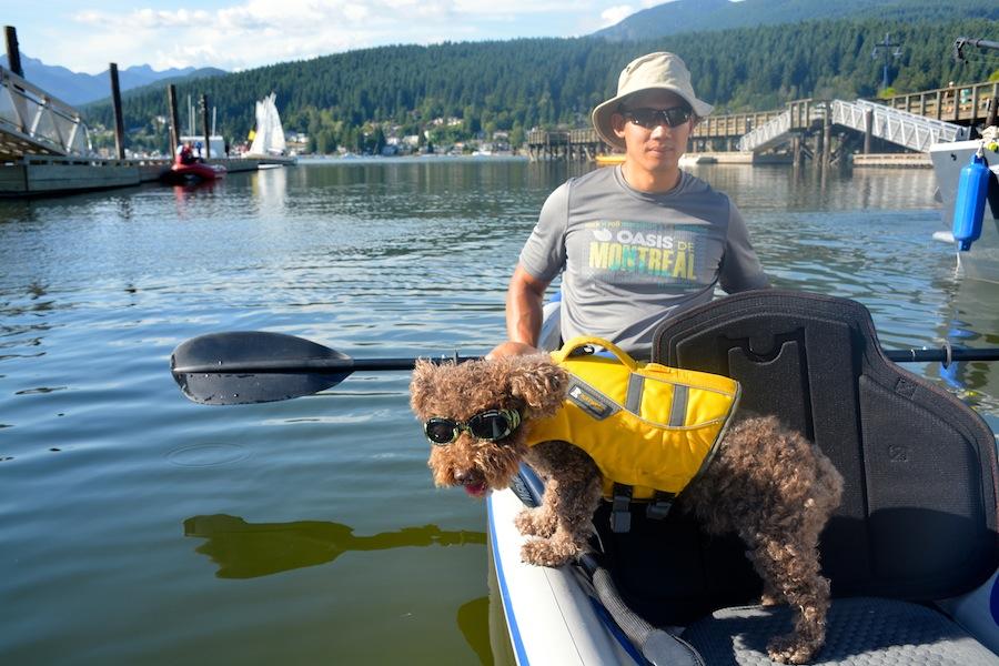 Seth wearing his doggles on kayaking trip