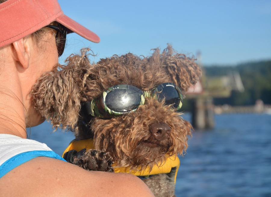 kayaking with Seth wearing his Doggles ILS in green camo